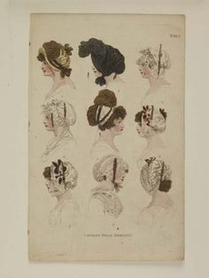 Museum of London | HAND COLOURED STIPPLE ENGRAVING London Head Dresses Maker: Fashions of London and Paris Production Date: 1802 ID no: 2002.139/1326