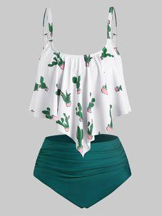 Plus Size Overlay Cactus Print Tankini Badebekleidung - scencack. Tankini With Shorts, Plus Size Tankini, Plus Size Swimwear, Blue Tankini, Tankini Swimsuits For Women, Cute Swimsuits, Modest Swimsuits, Best Swimwear, Plus Size Bikini