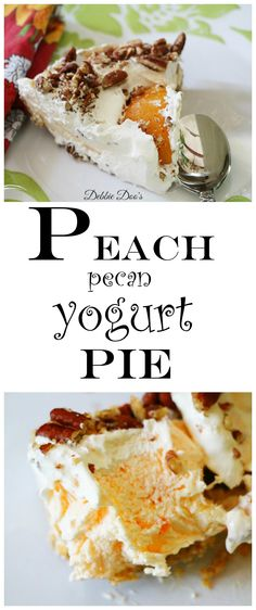 How to make an almost guilt free dessert yogurt peach Pecan pie. So light and delicious, you will want to eat the whole pie in one sitting Just Desserts, Delicious Desserts, Yummy Food, Breakfast Dessert, Pie Dessert, Yogurt Pie, Baked Peach, Sweet Pie, Healthy Sweets