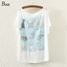 New Arrival Fashion T Shirt Women Tops Famous Brand Woman Clothes Cotton cartoon cat Print Pattern Tees Short Sleeve T-shirt #Affiliate