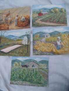 Set of 5 J.Gibbs Farm Tobacco Barn Harvest Art by TymelessTrinkets, $62.00
