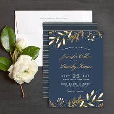 Gilded Floral Wedding Invitations by Jennie Hake | Elli