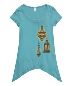 Love this Light Turquoise Lantern Light Ebb & Flow Organic Sidetail Tee on #zulily! #zulilyfinds