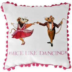 A very pretty cushion featuring hand painted dancing mice dressed for a costume party. The pale pink text and pompoms make it the perfect addition to any little girl's bedroom. #EmmaBridgewater #Kids