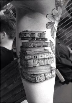 old books tattoo by Dr Woo