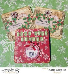 Katie Zoey Ho Graphic 45 Mixed Media Xmas Cards (2) ~ Christmas Cards & Tags.