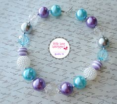 Turquoise Blue White Silver Lavender Purple Chunky Bead Necklace - Photo Prop Newborns, Toddlers, Girls, Babies - Beads - Red, White, Black. $18.00, via Etsy.