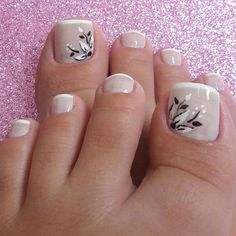 Pedicure Nail Art, Manicure Nail Designs, Pedicure Designs, Toe Nail Designs, Toe Nail Art, Nail Manicure, Pretty Toe Nails, Cute Toe Nails, My Nails