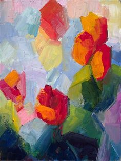 """Tulips"" - Original Fine Art for Sale - © Lena Levin"