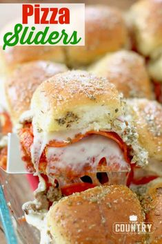 The 11 Best Slider Recipes Remix pizza night by serving pizza sliders instead! Hawaiian rolls stuffed full of cheese, pepperoni, sausage & sauce. Topped with a savory buttery spread! Pasta Pizza, Slider Sandwiches, Sliders Burger, Steak Sandwiches, Beef Sliders, Chicken Sliders, Party Sandwiches, Pizza Slider, Slider Food