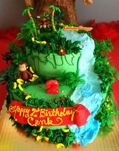 What a cute Curious George cake! Le gusta a F Curious George Cakes, Curious George Party, Curious George Birthday, 13th Birthday Parties, 3rd Birthday, Birthday Cakes, Birthday Ideas, Kid Cakes, Cupcake Cakes