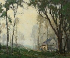 """Sheep and Cottage in Grove of Tall Trees"" - Chauncey Foster Ryder"