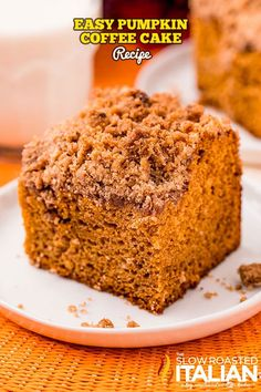 Pumpkin coffee cake is the perfect excuse to have something sweet for breakfast! Enjoy a slice on chilly mornings or make it for holiday guests. Pumpkin Coffee Cakes, Pumpkin Cake Recipes, Pumpkin Spice Coffee, Spiced Coffee, Pumpkin Dessert, Pie Recipes, Pumpkin Delight, The Slow Roasted Italian, Cake Ingredients