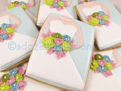 Pretty bride cookies using a basic cutter -- could do for other dresses, too!