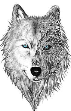 Bildergebnis für wolf illustration More - Julie's Tattoos Wolf Tattoo Design, Lotus Tattoo Design, Skull Tattoo Design, Tattoo Wolf, Tattoo Designs, Lizard Tattoo, Two Wolves Tattoo, Wolf Design, Coyote Tattoo