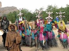 Dogon dancers at Ennde, Mali