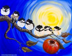 Chickadee Flock on An Apple branch painting step by step tutorial for Youtube