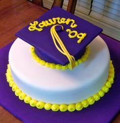 High+School+Graduation+Cake+Ideas | This is the graduation cake, obviously. Her school's colors are purple ...