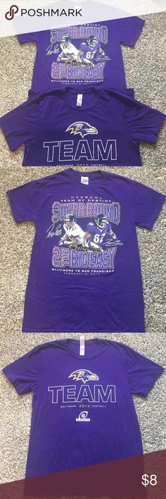 Baltimore Ravens Super Bowl 2013 shirts Ravens Super bowl shirt is a small and Ravens playoffs shirt is a medium but fits like a small. Both worn once and in good condition. Tops Tees - Short Sleeve