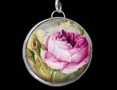 """Redoute Chic Pink Shabby Rose Soldered Bracelet/Necklace 1"""" Pewter Charm/Pendant"""
