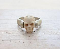 Sterling Silver Skull Ring Till Death do us Part by StaroftheEast, $97.00