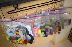 Ideas for storing children's materials in small spaces. Thrifty, too.