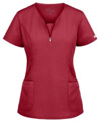 Look fitted and fashionable at work with the UA Butter-Soft STRETCH Curved Neck Zipper Scrub Top. Buy fabulous fashion scrubs at Uniform Advantage today! Scrubs Uniform, Scrubs Outfit, Yoga Scrub Pants, Stylish Scrubs, Medical Scrubs, Nursing Scrubs, Womens Scrubs, Drawstring Pants, Scrub Tops