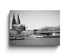 Köln Panorama  Fotodruck auf  15cm x 10cm x 2,1cm Multiplex Birke kaschiert