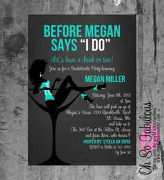 Before She Says I Do in Blue - Bridal Shower Bachelorette Party Invitation - Customizable and PRINTABLE on Etsy, $10.00
