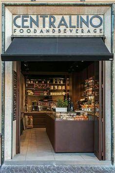 CENTRALINO - Pesaro (PU) Designed and realized by AFA Arredamenti. Check out more projects on our website www. Bakery Shop Design, Kiosk Design, Cafe Design, Restaurant Facade, Cafe Restaurant, Speisenkarten Designs, Vitrine Design, Supermarket Design, Café Bar