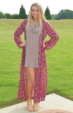 Long sleeve plum, mauve, violet & camel abstract printed chiffon maxi…