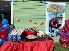 Spider-man treat table 4th Birthday Parties, Man Birthday, Happy Birthday, Birthday Cake, Spiderman Theme, Superhero Party, Party Stuff, Party Themes, Treats