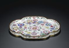 Chinese C18th CANTON ENAMEL on copper 'FLOWER-BALL' TRAY MARK AND PERIOD OF QIANLONG - 16cm, 10K