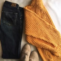 Vintage Cable Knit Sweater in Mustard The ultimate cozy grandpa sweater- pair it with leggings or skinny jeans and your favorite boots! 24 inches shoulder to hem, 15 inch sleeves (3/4 length). Cotton and ramie blend. Vintage Sweaters