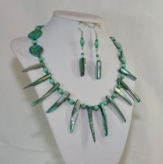 Gorgeous ONE OF A KIND Teal Mother of Pearl by GiniJackOriginals, $159.95