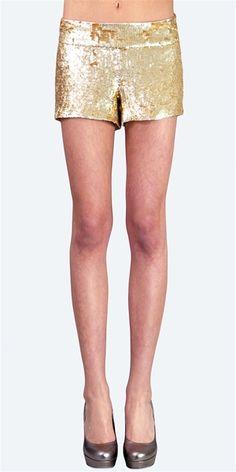 Haute Hippie - Sequin Shorts- Matte Gold