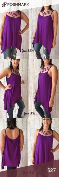 ❗️SALE❗️summer tunic Spaghetti strap top with caged neckline and asymmetrical hem - in a fun eggplant color  ✔️Made in the USA ✔️95% rayon 5% spandex  Small bust - 34' Medium bust - 36' Large bust - 38' Boutique Tops