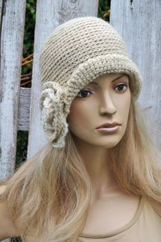 Crochet Ecru hat Rose Handmade Cloche Hat Cloches Knit by Degra2