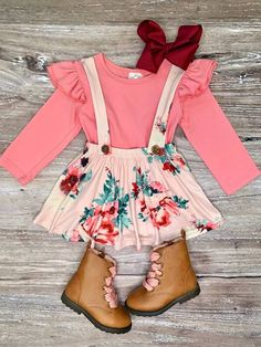 Clothes For Babies - Pink Floral Suspender Set Cute Baby Girl Outfits, Kids Outfits Girls, Toddler Girl Outfits, Newborn Baby Girl Outfits, Toddler Girl Easter Outfit, Baby Girl Tights, Cute Outfits For Kids, Baby Girl Fashion, Toddler Fashion