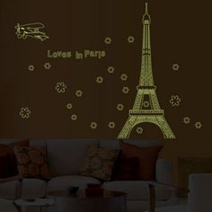 Loves in Paris Creative Luminous Eiffel Tower Pattern Home Appliances Decoration Wall Sticker-7.01 | GearBest.com