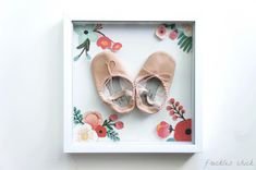 Framing baby's ballet shoes via Freckles Chic