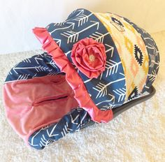 http://www.shoppinggamesforkids.com/category/infant-car-seat-cover/ Agave Fields, Navy Arrows, and Coral Infant Car Seat Cover