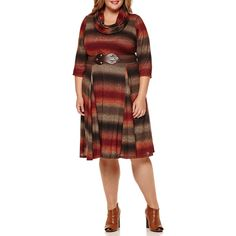 Robbie Bee 3/4-Sleeve Knit Sweater Dress (115 CAD) ❤ liked on Polyvore featuring plus size women's fashion, plus size clothing, plus size dresses, plus size, three quarter dresses, brown knit dress, sweater dresses and 3/4 length sleeve dresses