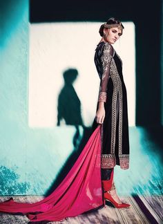 Appear stunningly attractive with this black velvet pant style suit. That you can see some intriguing patterns accomplished with embroidered, lace and resham work. Comes with matching bottom and dupat...