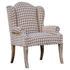 Wingback Houndstooth Arm Chair