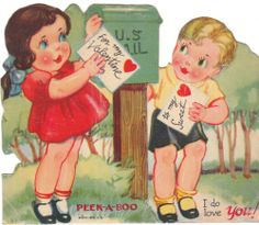 Vintage Valentine Card Girl and Boy at Mail Box 1940's Die-Cut Children USA
