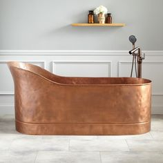 First copper slipper tub was introduced to the market in the US almost two centuries ago. One or two tub higher ends added extra comfort when getting in or out. Typically, a double or single slipper bathtub is poisoned in a middle of the bathroom as free standing. In old days. water was poured by a bucket.