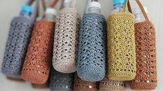 Sharing Ideas: Crochet Water Bottle Holder with Cross Strap Crochet Motif, Crochet Designs, Free Crochet, Crochet Patterns, Crochet Cross, Diy Crafts For Teen Girls, Crafts For Teens To Make, Kids Crafts, Water Bottle Carrier