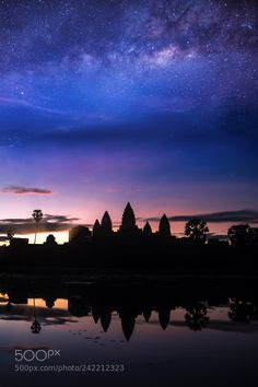 Angkor wat temple with morning sunrise and star  by Anek2910