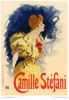 Poster The Belle Epoque Camille Stefani impresso com tecnologia HighHD de alta definição em papel semi-glossy especial com gramatura 250g no tamanho A3 (42x29cm) com cores vibrantes.